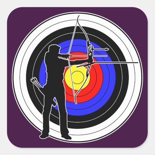 Archery & target 01 square sticker