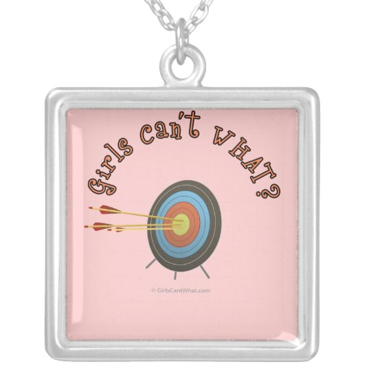 Archery Target Bullseye Silver Plated Necklace