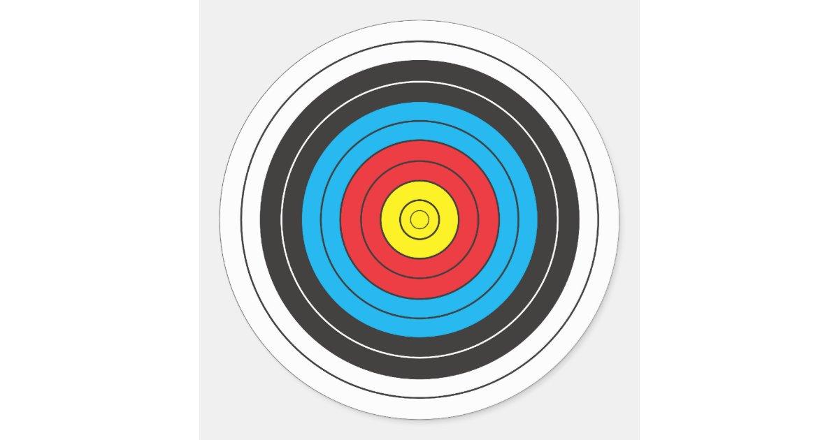 Archery Target Classic Round Sticker Zazzle Com