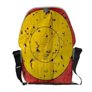 Archery target close up with many arrow holes messenger bag