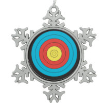 """Archery Target"" design gifts and products Snowflake Pewter Christmas Ornament"