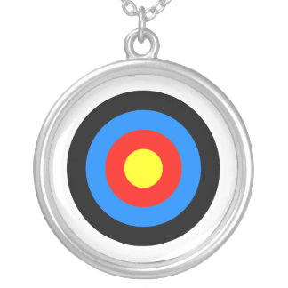 Archery Target Silver Plated Necklace