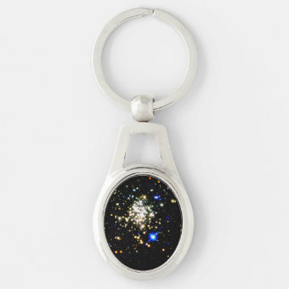 Arches Cluster Silver-Colored Oval Metal Keychain