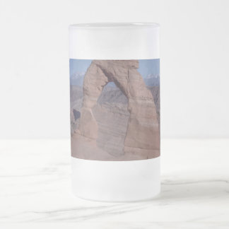 arches national park arch on side of cliff frosted glass beer mug