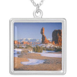 ARCHES NATIONAL PARK, UTAH. USA. Balanced Rock Square Pendant Necklace