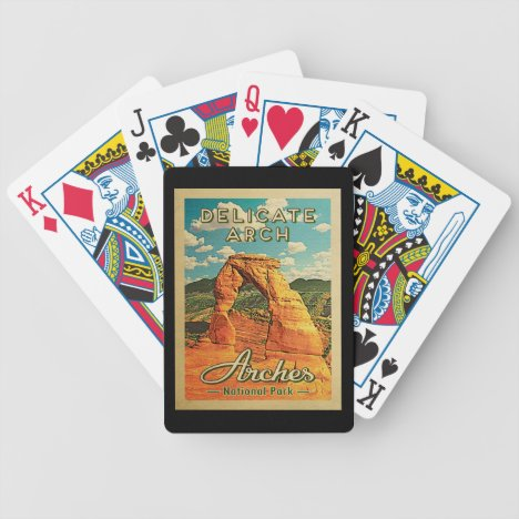 Arches National Park - Vintage Delicate Arch Bicycle Playing Cards
