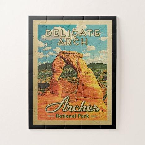 Arches National Park - Vintage Delicate Arch Jigsaw Puzzle