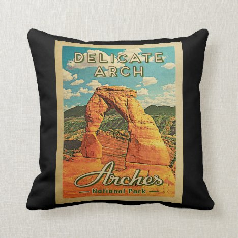 Arches National Park - Vintage Delicate Arch Throw Pillow