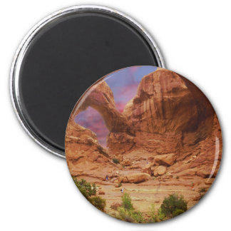 Arches NP with Hikers UT 2 Inch Round Magnet