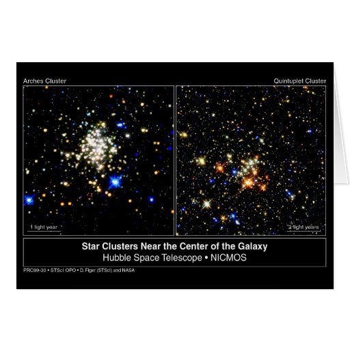Arches & Quintuplet Star Clusters Card