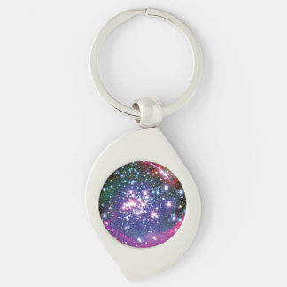 Arches Star Cluster Silver-Colored Swirl Metal Keychain