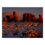 Arches Winter Sunset Poster