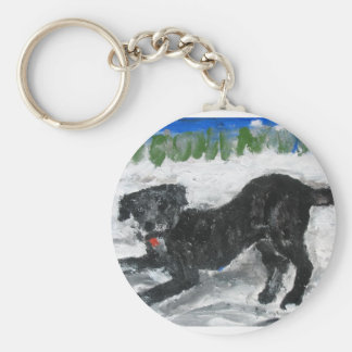Archie Romping in the Snow by Anne K Abbott Basic Round Button Keychain