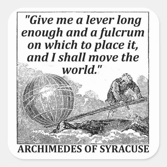 Archimedes Lever Square Sticker | Zazzle.com