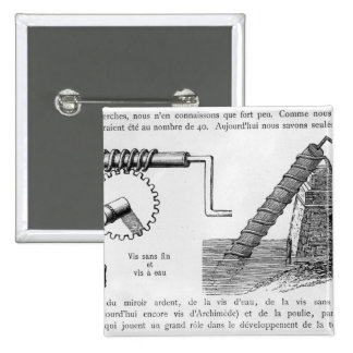 Archimedes screw pinback buttons