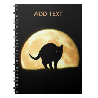 Arching Black Cat Against Full Moon Notebook