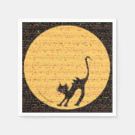 Arching Black Cat and Full Moon Halloween Party Paper Napkin