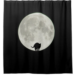 Arching Black Cat and Full Moon Shower Curtain