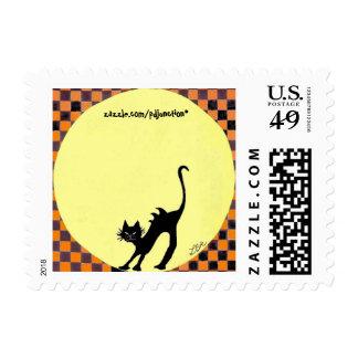 """Arching Black Cat"" Postage"