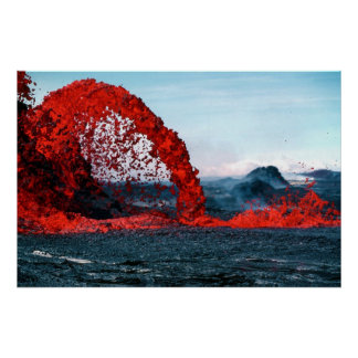 Arching Fountain of Lava from Pahoehoe Volcano Print