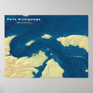 Archipiélago de París--Mapa ahogado de las Póster