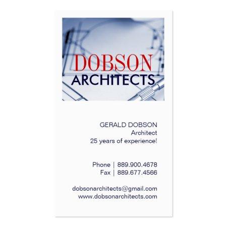 Blueprint Vertical Architect Business Cards