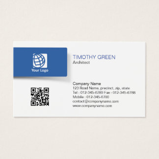 Architect Construction Simple Blue Tab Minimal Business Card