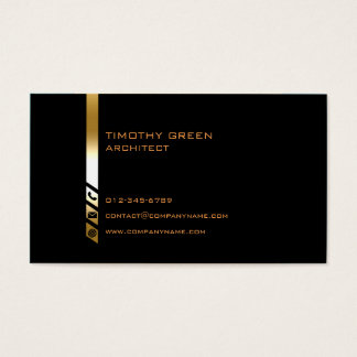 Architect Construction Trade Skills Gold Stripe Business Card