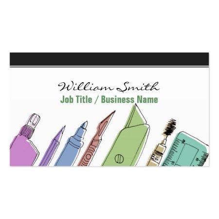 Unique Colorful Design Tools Architect Business Cards