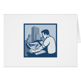 Architect Draftsman Drawing Buildings Retro Cards
