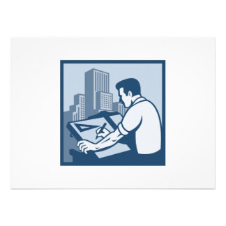 Architect Draftsman Drawing Buildings Retro Personalised Announcement