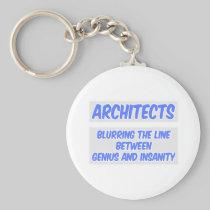 Architect Joke .. Genius and Insanity Basic Round Button Keychain
