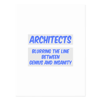 Architect Joke .. Genius and Insanity Postcard