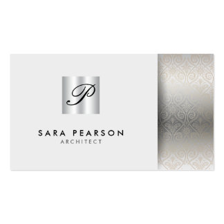 Architect ProfessionalSkills SilverDamask Monogram Double-Sided Standard Business Cards (Pack Of 100)