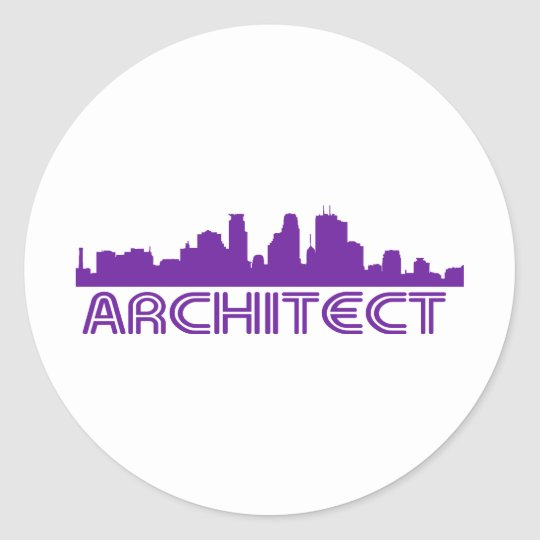 Architect Skyline design! Classic Round Sticker