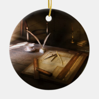 Architect - The drafting table  Double-Sided Ceramic Round Christmas Ornament