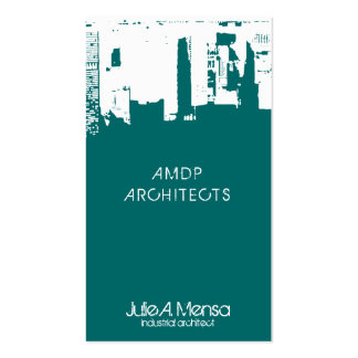 Architect Upside Downtown Skyline Business Card Templates