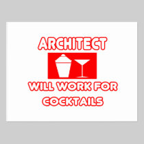 Architect...Will Work For Cocktails Postcards