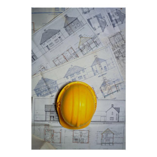 Architect's cap and plans poster