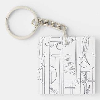 Architect's Dream-Black And White Geometric Single-Sided Square Acrylic Keychain