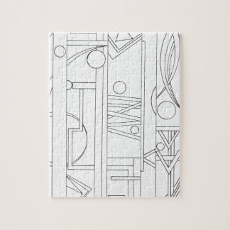Architect's Dream-Black And White Ink Drawing Jigsaw Puzzle