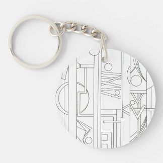 Architect's Dream-Black And White Ink Drawing Single-Sided Round Acrylic Keychain