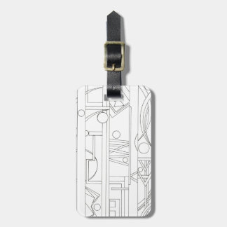Architect's Dream-Black And White Ink Drawing Travel Bag Tag