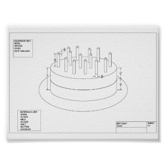 Architectural Birthday Cake Poster