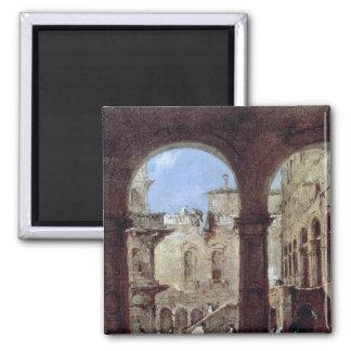 Architectural Capriccio, c.1770 2 Inch Square Magnet