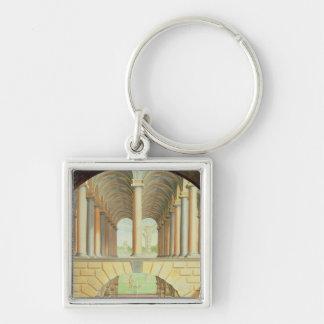 Architectural Capriccio Silver-Colored Square Keychain