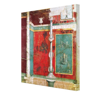 Architectural detail with a landscape canvas print