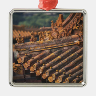 Architectural details in the Forbidden City, Square Metal Christmas Ornament