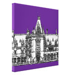 Architectural Drawing in Purple Gallery Wrapped Canvas