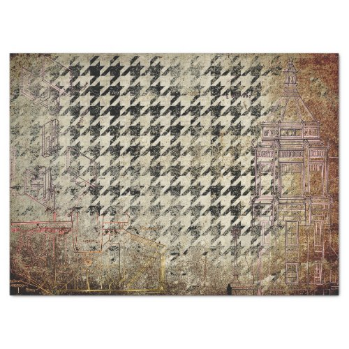 ARCHITECTURAL GRUNGE WITH HOUNDSTOOTH TISSUE PAPER